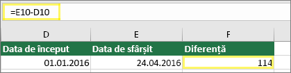 Celula D10 cu 01.01.2016, Celula E10 cu 24.04.2016, Celula F10 cu formula: =E10-D10 și rezultatul 114