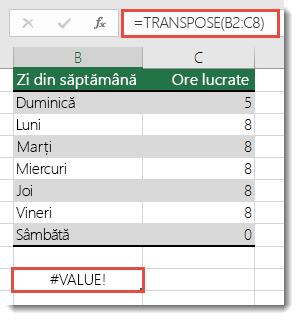 Eroarea #VALOARE din TRANSPOSE