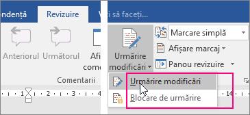 Când faceți clic pe butonul Urmărire modificări, opțiunile disponibile sunt evidențiate