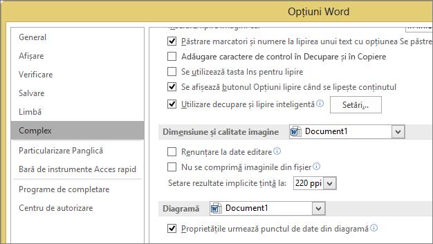 Dimensiunea imaginii și opțiunile de calitate în Word