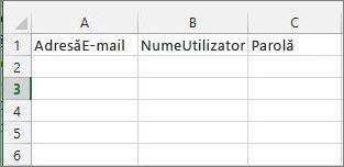 Titluri de celulă din fișierul de migrare Excel.