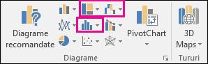 Pictograme pentru inserarea diagramelor ierarhie, cascadă, bursiere sau statistice în Excel 2016 pentru Windows