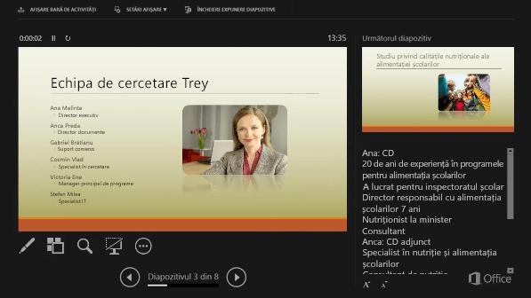 Vizualizarea prezentator din PowerPoint 2016, cu un cerc în jurul Notelor vorbitorului
