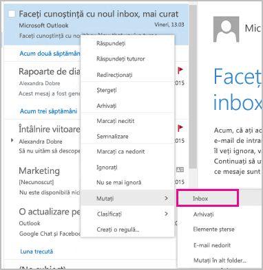 Recuperarea și mutarea unui mesaj de e-mail în inbox