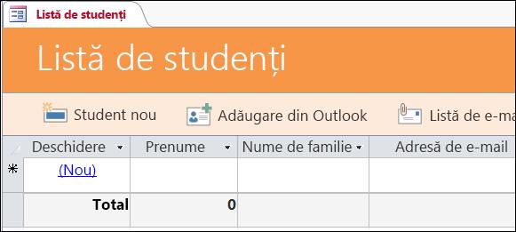 Formularul Listă de studenți din șablonul de bază de date Evenimente studenți