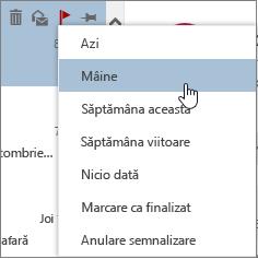 Opțiunile de urmărire disponibile atunci când semnalizați un mesaj