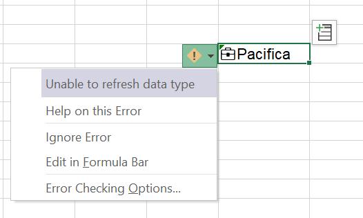 ToolTip care afișează o eroare de reîmprospătare a tipului de date