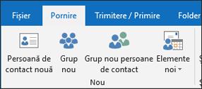 Selectați noua persoană de Contact pentru a crea o persoană de contact nouă.