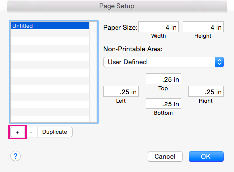 În Inițializare pagină, selectați Gestionați dimensiuni particularizate pentru a crea dimensiuni de hârtie particularizate.