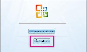 După ce se instalează Office, faceți clic pe Închidere.