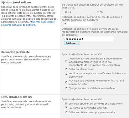 Pagina de setări de Audit ss_Configure