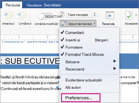 Meniul Opțiuni marcare cu preferințe evidențiate.