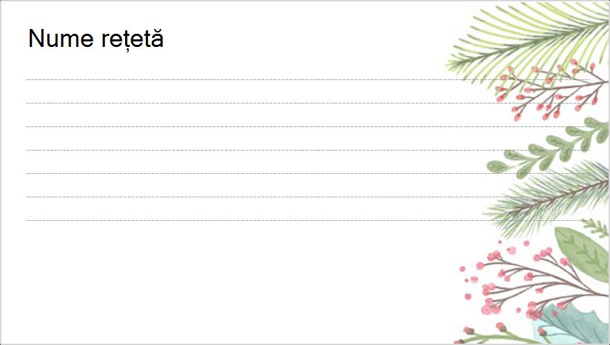 Imagine cu un card de rețetă cu temă de sărbători