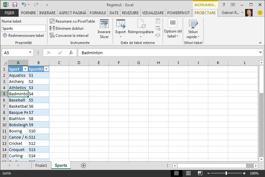 Denumirea unui tabel în Excel