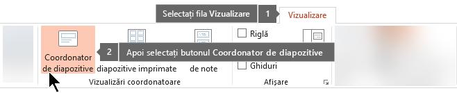 Utilizați fila Vizualizare din PowerPoint pentru a comuta la vizualizarea Coordonator de diapozitive