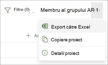 Captură de ecran a meniului din Project pentru web afișând opțiunea export în Excel