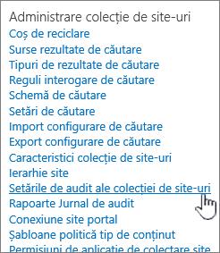 Site-ul colecției setărilor de auditare selectat în caseta de dialog Setări Site.