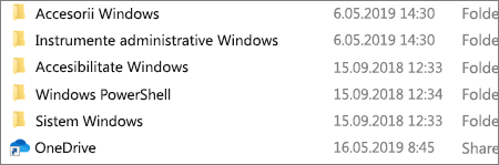 Captură de ecran care afișează aplicația OneDrive în Exporer.