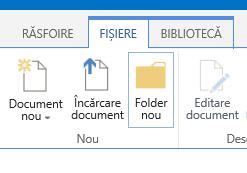Fila Fișiere din panglică, cu butonul Folder nou evidențiat