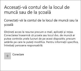 Alegeți Conectare sub Accesați contul de la locul de muncă sau de la școală