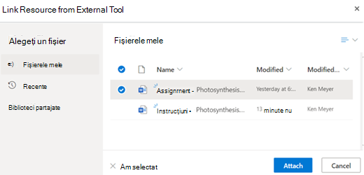 Linked resource from external tool pick a file to attach