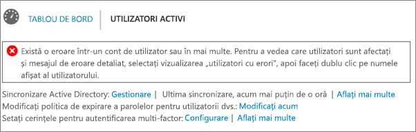 Declarație de eroare de sincronizare director în partea de sus a paginii Utilizatori activi