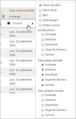 Opțiuni de filtrare privind nivelul utilizatorului
