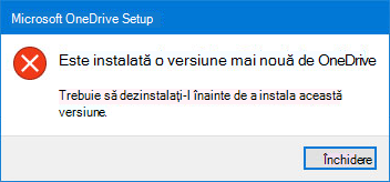 Eroare OneDrive pop-up