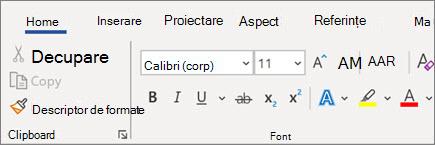 Adăugarea și formatarea textului în Word