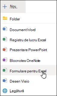 Opțiunea Inserare formular pentru Excel din Excel Online