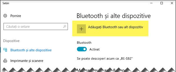 Adăugarea unui dispozitiv Bluetooth