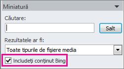 Caseta de selectare Includeți conținut Bing