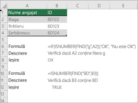 Un exemplu utilizarea dacă, ISNUMBER și găsiți funcțiile pentru a verifica dacă o parte dintr-o celulă se potrivește anumitor elemente de text