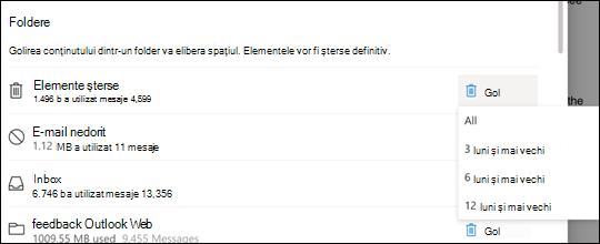 Stocare Setări pentru Outlook.com.