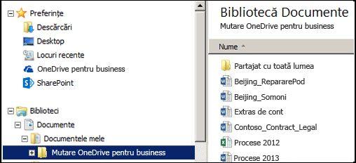 Folderul de tranziție după mutarea fișierelor din folderul OneDrive pentru business SharePoint sincronizat