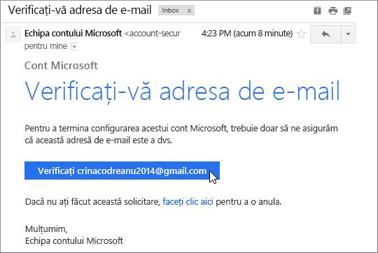 Verificați adresa de e-mail