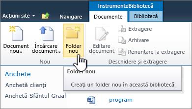 Panglica de documente SharePoint 2010 cu un Folder nou evidențiată