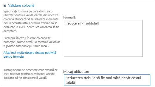 Caseta de dialog validare coloană cu câmpurile completate cu date eșantion