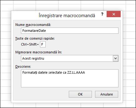 Înregistrare macrocomandă