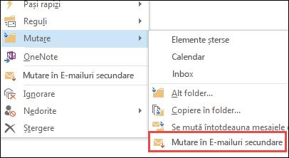Mutare în E-mailuri secundare