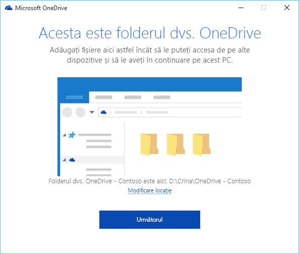 Captură de ecran cu ecranul Acesta este folderul dvs. OneDrive din expertul Bun venit la OneDrive