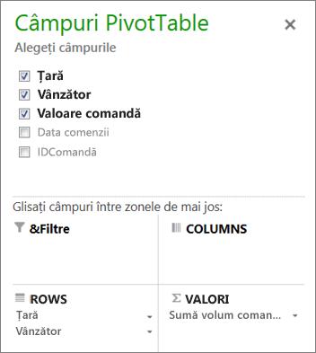 Listă de câmpuri PivotTable