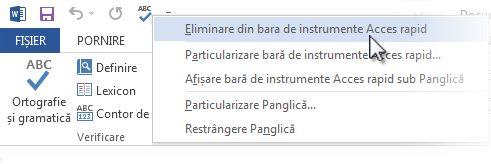 Eliminarea comenzii Corectare ortografică și gramaticală din Bara de instrumente Acces rapid
