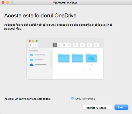 Captură de ecran cu pagina Acesta este folderul dvs. OneDrive, după ce alegeți un folder în expertul Bun venit la OneDrive, pe un Mac