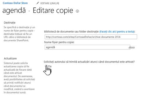 Faceți clic pe Da în solicitarea autorului să trimită actualizări atunci când documentul este arhivat secțiune