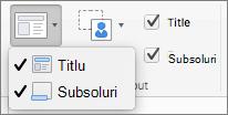 Captură de ecran afișează opțiunile titlu și subsoluri disponibilă în grupul aspect coordonator.