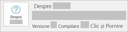 Captură de ecran afișând versiunea și compilarea Clic și Pornire