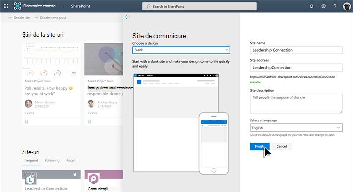 Crearea unui site de comunicare