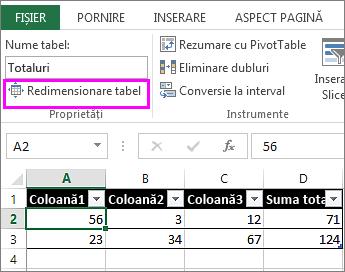 utilizarea opțiunii redimensionare tabel din Instrumente tabel
