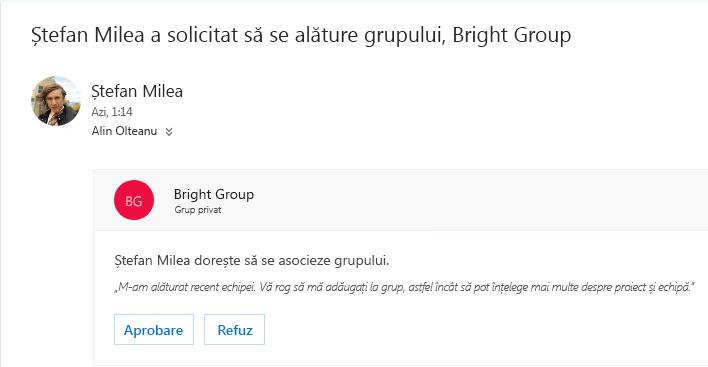 Un utilizator să poată descoperi un grup și poate doriți să vă asociați la acesta. Dacă grupul este privat, proprietarul primiți un mesaj de e-mail cu solicitarea. Proprietar să fie aproba sau respinge solicitarea.